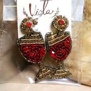 Wine Glass Seed Bead Earrings